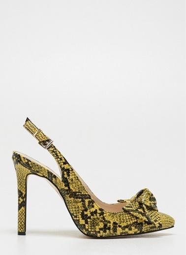 D by Divarese Yılan Desenli Topuklu Ayakkabı Sarı